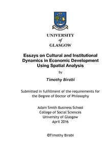 Essays On Cultural And Institutional Dynamics In Economic  Printed